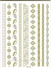 Waterproof grid cone heart bracelet DIY necklace tattoo metallic tattoo gold temporary tattoos sticker Wholesale YS019