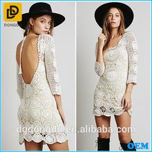 Latest crochet dress pattern backless women crochet dress for adult