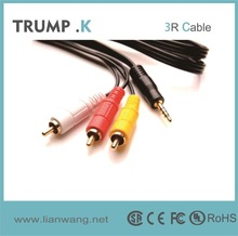 High quality japan sex video av 3.5mm stereo plug to 3rca jack toslink to toslink cable with metal pulg