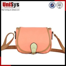 2015 wholesale ladies fashion design youthful bright colour leather shoulder bag