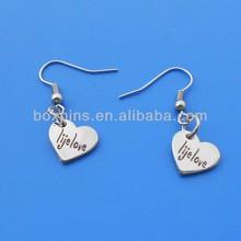fashion jewelry heart shaped earrings pendant charm for lady (BOX-heart shaped earrings-01)