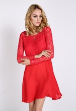 New Women's Ladies Fashion Lace Backless Bowknot Cocktail Evening Red Short Mini Dress SV007768 #