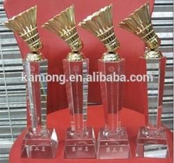 new design crystal trophy badminton
