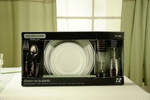 PC-12 disposable home plastic dinnerware dishes and plates set