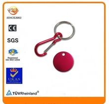 Aluminum anodized color carabiner hook red Trolley Coin Keyring