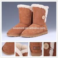 Twin face sheepskin snow boots women white fur