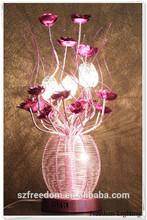 Modern crystal wedding decoration flower stand table lighting