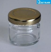 wholesale mini glass jar 1oz glass honey jars 30ml 40ml with golden lid