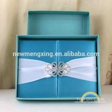 T300E- Luxury silk box wedding invitation with ribbon