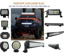 GUANGZHOU POPNOW 27W LED work light 36w/72w/120w/300w LED light bar led tuning work light
