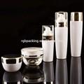 Alta calidad de color blanco recubiertos cosmética frasco de vidrio de cosméticos cremas de embalaje