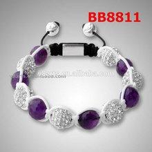 New product pendant meaning shamballa bracelet pink crystal ball woven bead bracelet