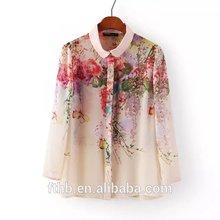 2015 ladies hot selling new design blouse check chiffon blouse