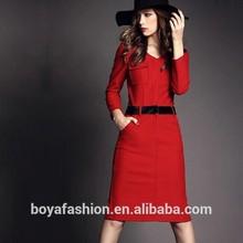 Red sexy with pocket women ladies female ponte roma dress