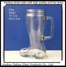 600ml big boot shape glass beer mug
