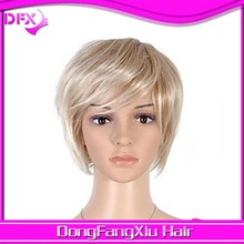 capless short straight high quality synthetic blonde with light blonde hair wig