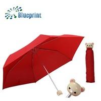Lady Loves Red Pongee Fabric Bear Head Doll Umbrella Folding China Gift Item