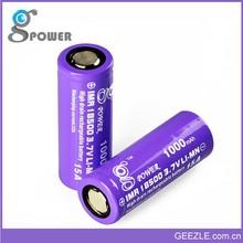 2015 Special Supplying 1000mAh 3.7v 18500 Lithium Battery