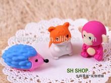 promotion gift cute fancy animal plane car shape 3d cartoon rubber eraser