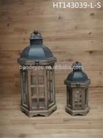 Metal top handmade decorative metal candle lanterns set of 2