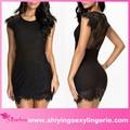 hot vente en gros noir dentelle cils mini nouveau style robe de soirée arabe