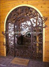 GYD-15G0133 luxury rose bush garden hotel entrance wrought iron gate designs