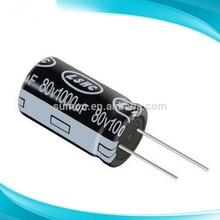 High quality 80v 1000uF aluminium electrolytic capacitor