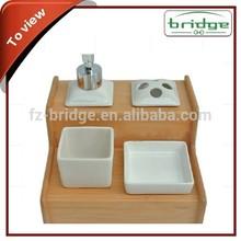 Decoración del hogar de bambú baño cuarto de baño / artículos del hogar de bambú y la cerámica 4 unid accesorios conjunto
