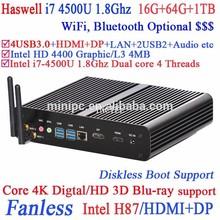 World's Smallest Windows Base Mini PC fanless with haswell Intel Core i7 4500U 1.8Ghz USB3.0 DP 16G RAM 64G SSD 1TB HDD