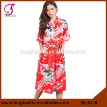 0110 Peacock Women Silk Kimono Long Robe