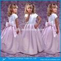 Andar- comprimento um- linha recortada pescoço manga curta branco e rosa flor menina vestido 2015