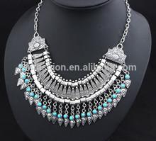 2015 Wholesale Fashion Vintage Blue Gem Texture Alloy Women's Choker Necklace