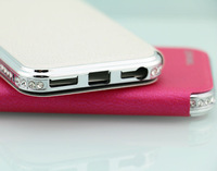 Crystal metal Leather mobile phone case for iphone 5 5s alibaba china suppliers