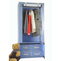 hot sale european assembly new trend cloth cabinet,folding 600D bed wardrobe computer table