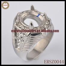 HOT NEW EMERALD GEM STONE RING FASHION TITANIUM STEEL RING