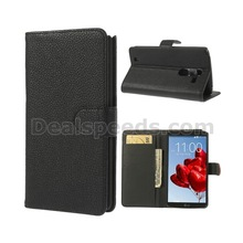 Litchi PU Leather Wallet Flip Case for LG Optimus G Pro 2 F350 D837 D838 - Black