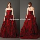 Off Shoulder Ruffled Custom Made Floor Length Formal Bridal Dress Vestidos De Novia BW082 red wedding dress pictures