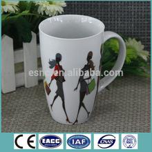 Factory direct cheap plain white coffee mug with woman pattern