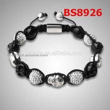 New Product white skull bead necklace black crystal gemstone necklace