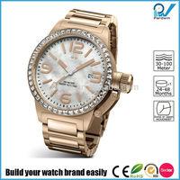 Build your watch brand easily quartz goldlis watch pearl dial big case diamond