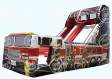 2015 hot giant fire truck inflatable water slide