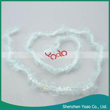 Hot Agaric Shape Glass Yarn Curtain Cord Fabric Lace Blue