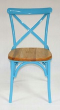 antique cross back wood dining chair,blue