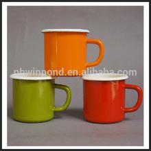 white colour roll rim enamel mug ,750ml enamel mug,9cm enamel mug