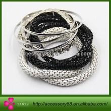 Black and white snake chain bracelets,diamond elastic bracelets and shiny silver Convex Bracelet