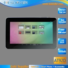 9inch Android 4.2 HD 1024x600 TFT ATM7021 Dual core Smart Tablet Pc