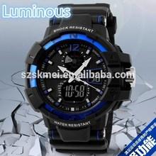 Fashion Design Men Big Dial Dual Time Zone,Alarm,Chrono charm waterproof watch