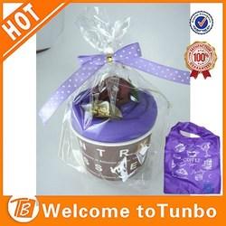 Wholesale purple cake shape custom bags fashion gift folding shopping bag