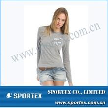 Customized Logo Priting Performance Women Long Sleeve Fashion T-Shirt MZ0397