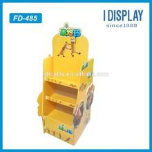 2 sides big advertising paper cardboard floor shelf display for books/pens/battery